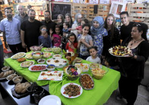 CTBI group on a visit to Greece to assess the new Syrian refugee crisis which is unfolding in the country.  Delegates enjoyed a delicious meal cooked by refugees at the Naomi NGO headquarters,Thessaloniki.